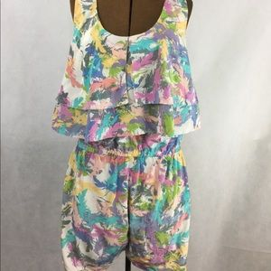 Line & Dot pastel feather print silk romper M